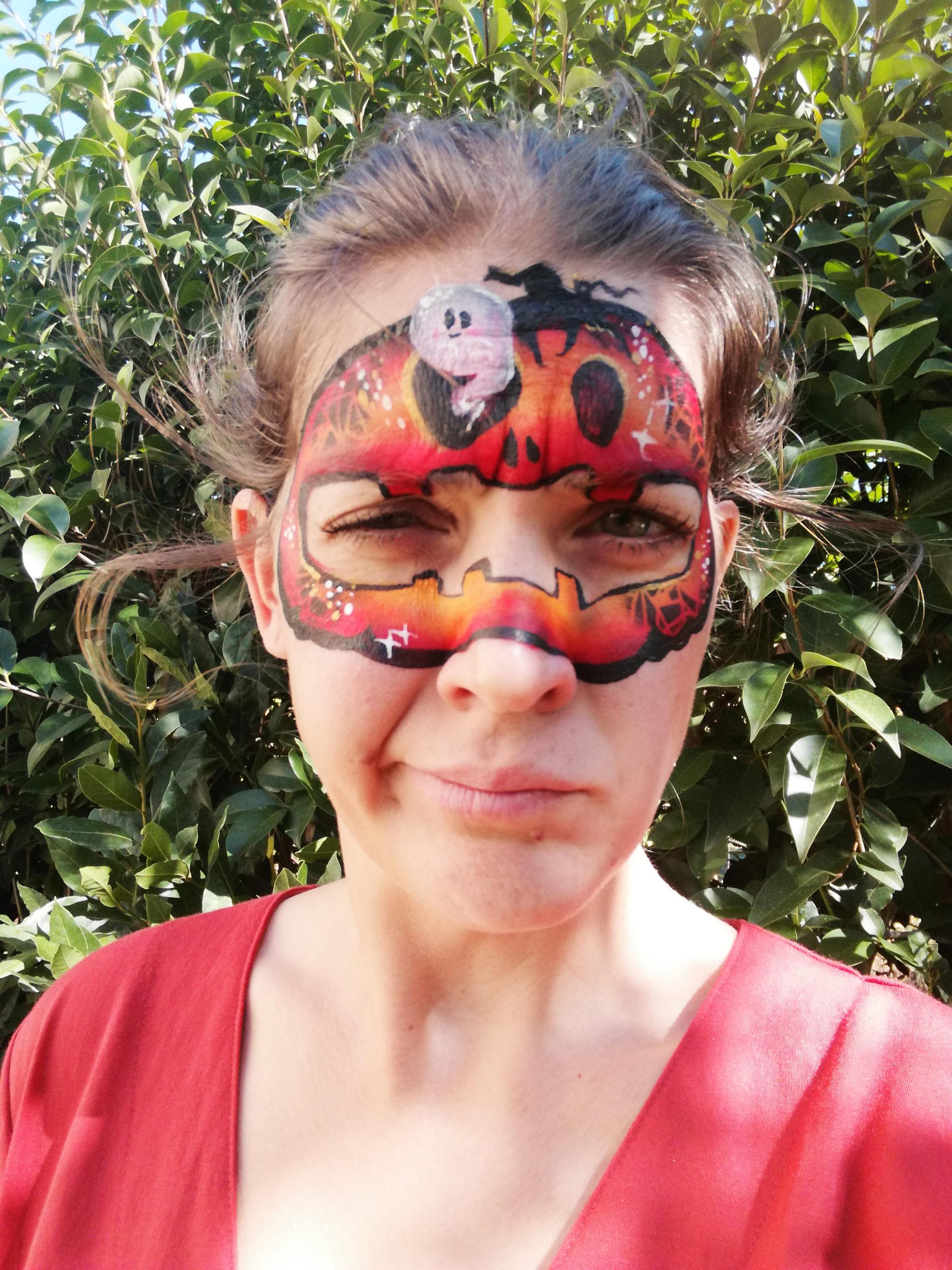 maquillage masque citrouille